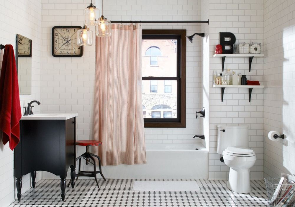 Black, white, red bathroom