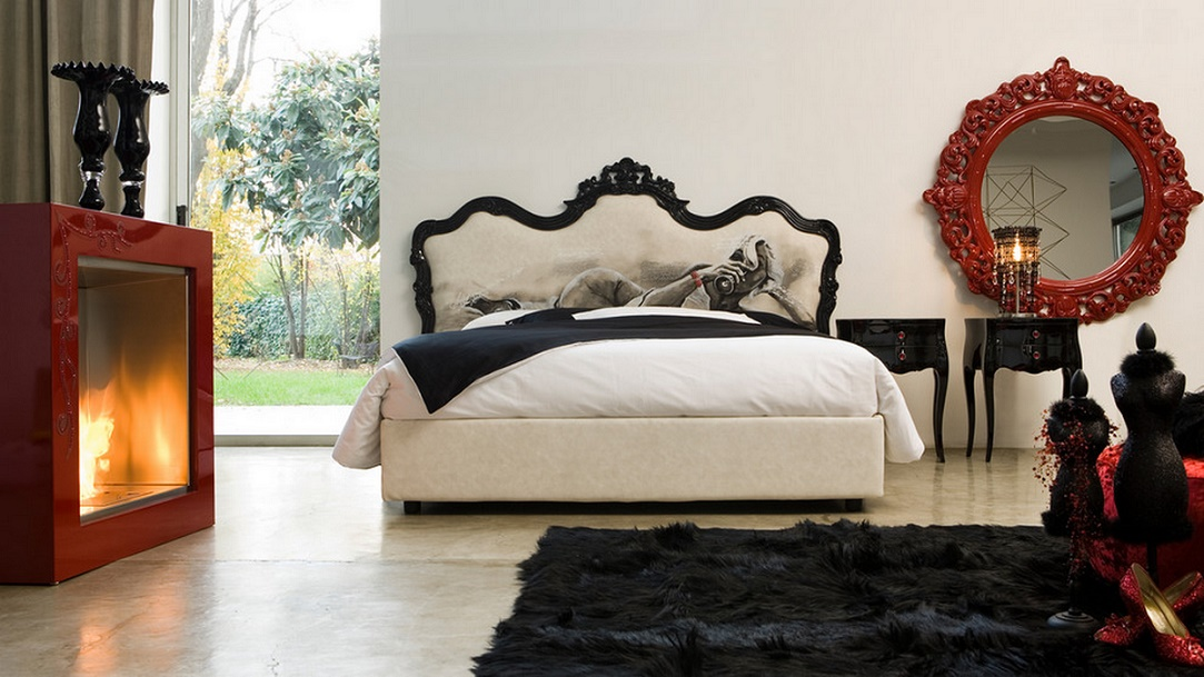 Black, white, red bedroom