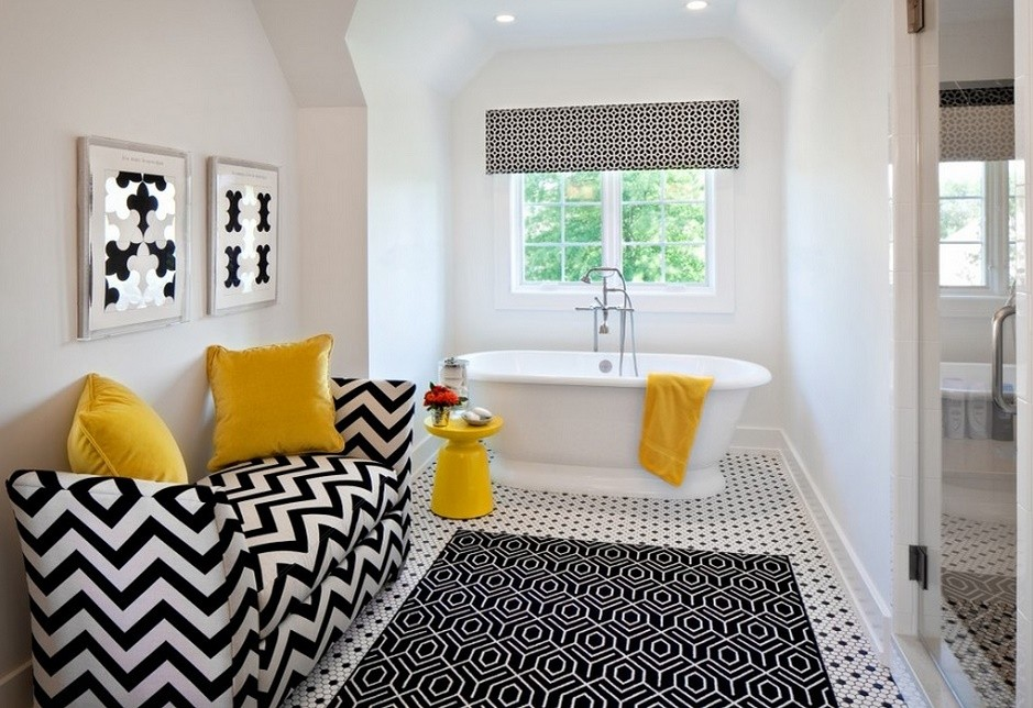 Black, white, yellow bathroom