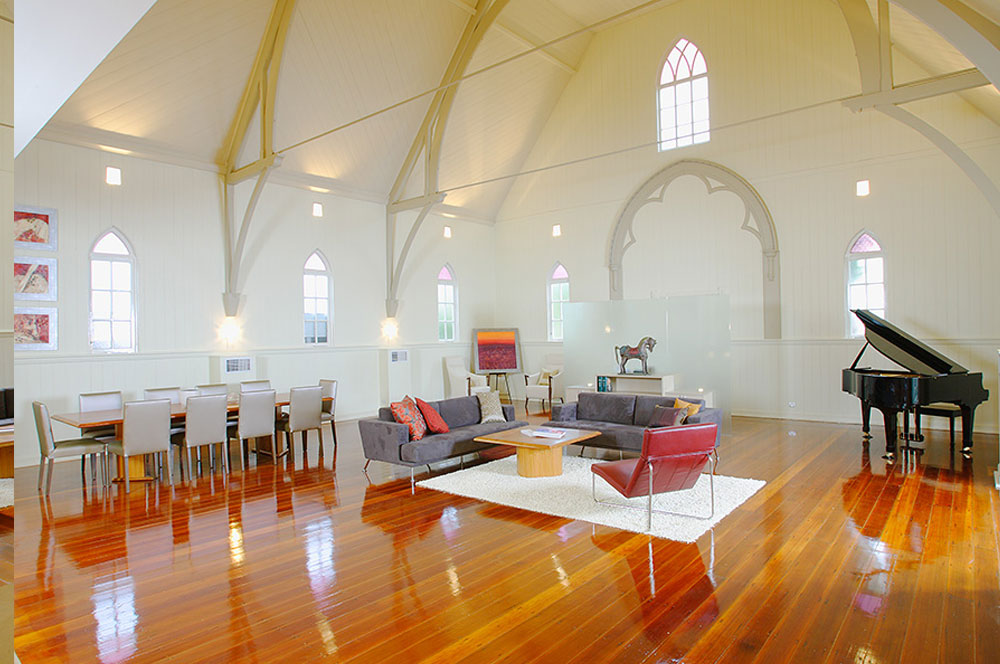 Church converted into a house - living