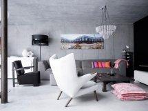 Image Piese de mobilier si decor moderne, intr-un living cu finisaje industriale