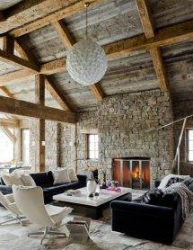 Image Mobilier modern intr-un background rustic