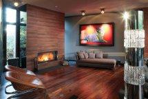 Image Living amenajat modern cu lemn furniruit