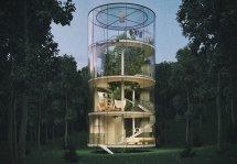 Image Casa din sticla pe patru niveluri ce inglobeaza un brad