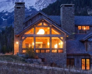 A Ski Lodge Made of Wood and Stone