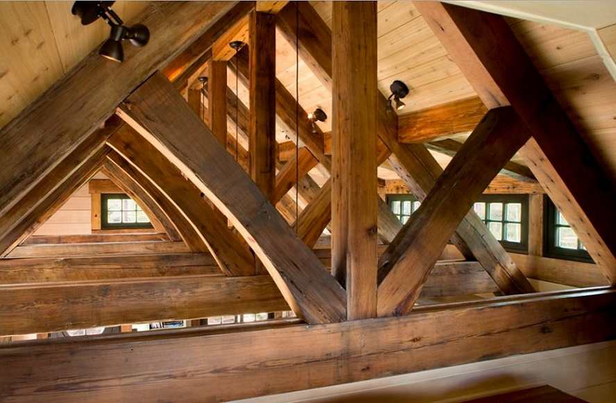 Mountain Cottage, attic wood structure